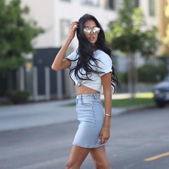 racquel natasha blogger sunglasses shirt skirt shoes