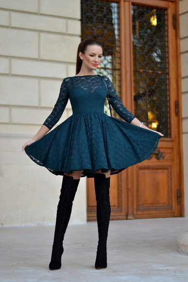 my silk fairytale blogger thigh high boots lace dress navy fall outfits