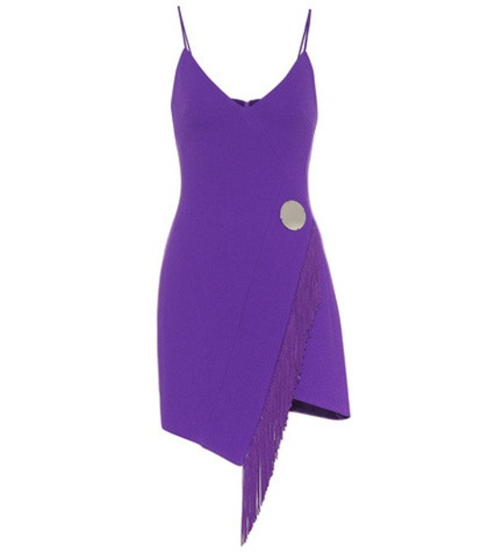 David Koma Stretch wool-blend minidress in purple