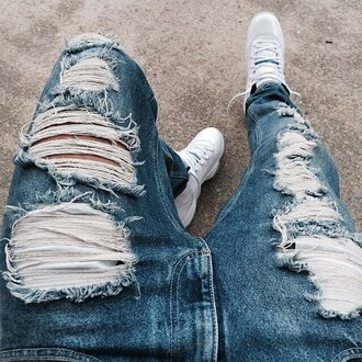jeans ripped jeans denim shoes