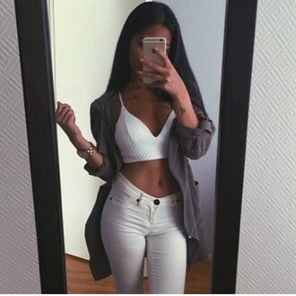 tank top jacket pants blouse outfit tumblr urban white monochrome filter bralette hoodie cardigan jeans white jeans denim watch minimalist
