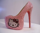 shoes,hello kitty shoes,pink shoes,sparkly shoes