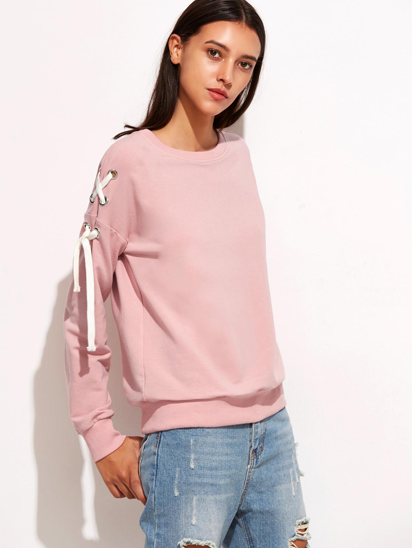feb086fe4a Pink Drop Shoulder Eyelet Lace Up Sweatshirt -SheIn(Sheinside)
