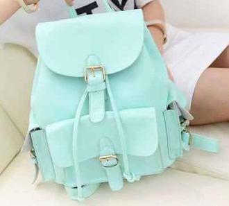 bag mint green backpack blue backpack school girl sac menthe menthol menthol color mint green bag