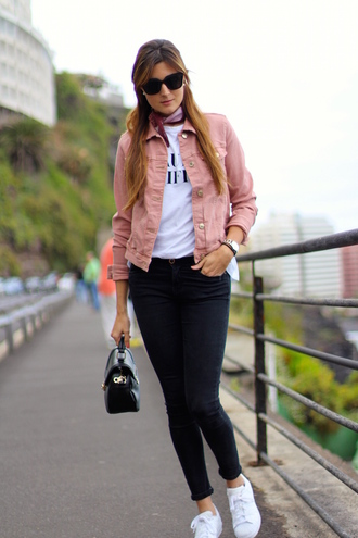 jacket shoes sunglasses t-shirt jeans streetwear pink jacket