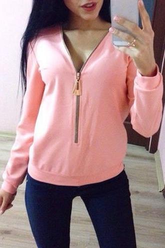 sweater pink zip zaful baby pink casual style stylish