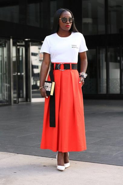 skirt maxi skirt high waist skirt t-shirt slogan tee embroidered tee clutch pumps blogger blogger style