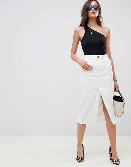 ASOS DESIGN denim midi skirt with split front in off white at asos.com