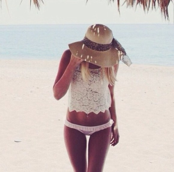 white summer sea t-shirt swimwear sunflower hat