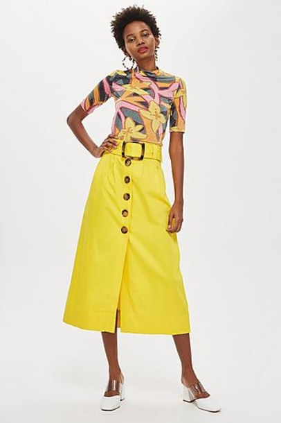 TopShop Buckle Button Midi Skirt - Yellow