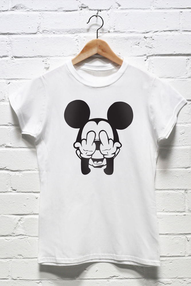 0704d2fd389c67 Disney Mickey Mouse Tshirt Rude Funny Dope Hipster Tumblr T-shirt Cartoon  W035