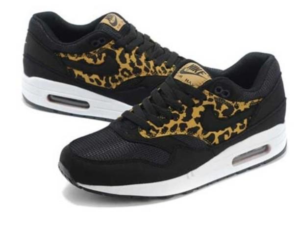 shoes, air max, air max, black, leopard print, trainers, kicks ...