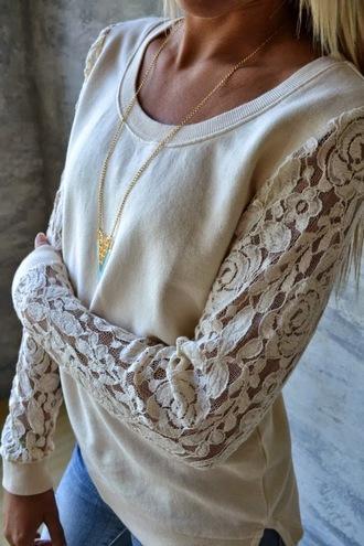 shirt lace sweatshirt white lace long sleeve shirt lace sweater cream lace sweater lace cream long sleeves laceshirt boatneck crewneck lace top