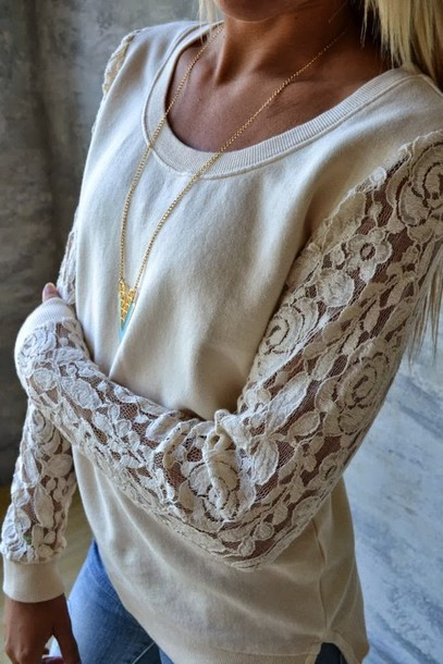 Shirt: lace sweatshirt, white lace long sleeve shirt, lace sweater ...