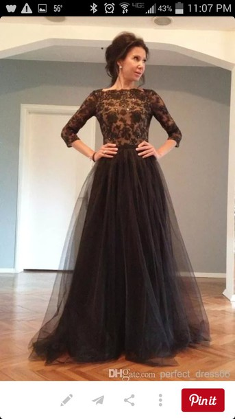47ad9f1862 dress black dress black tulle skirt long lace top open back prom dress  evening dress long