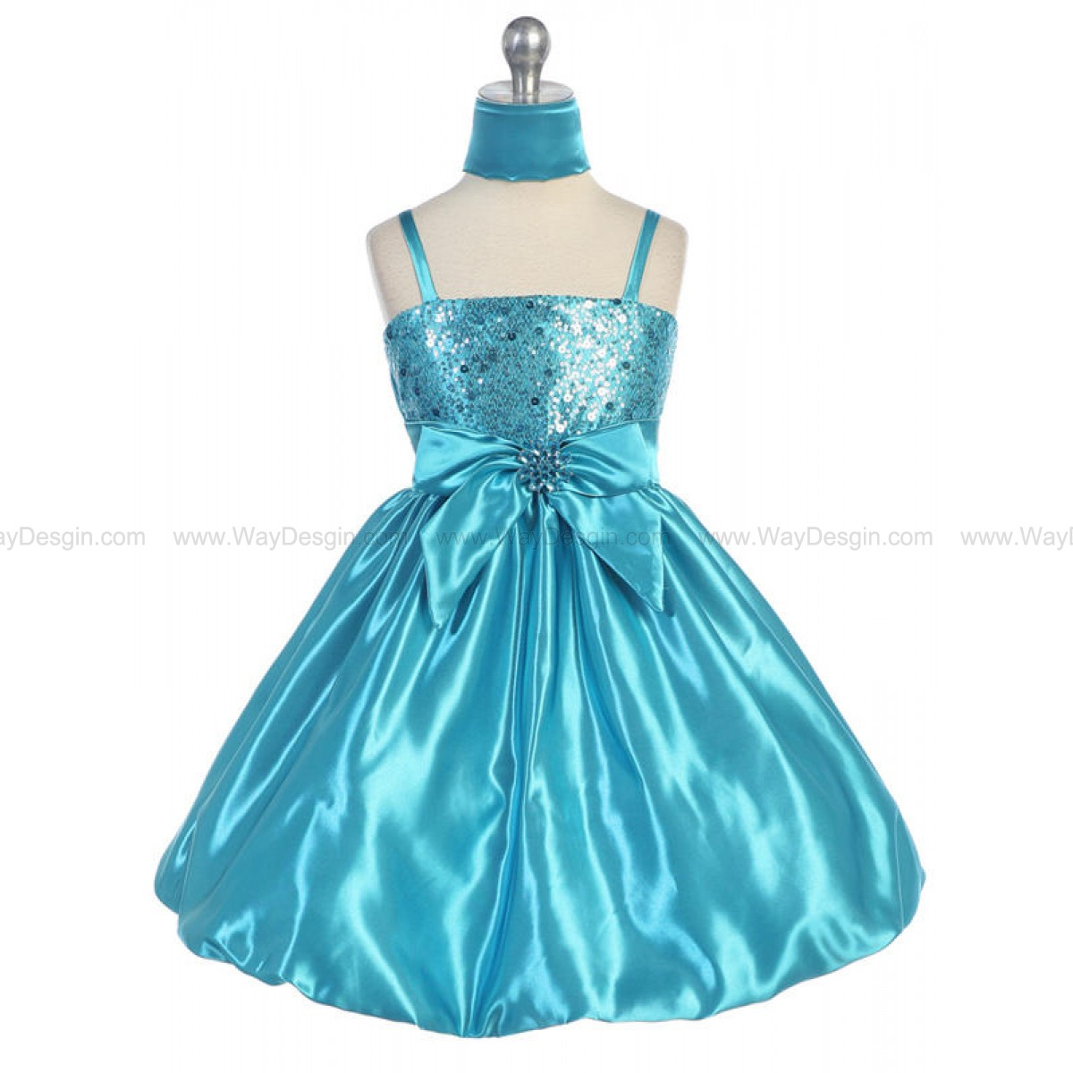 Turquoise Sequins Dress on Satin Shawl