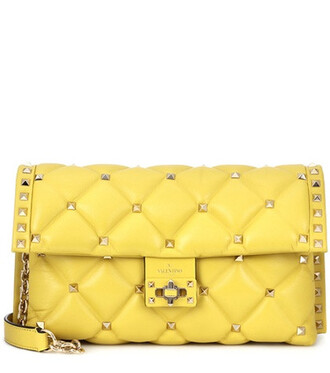 bag shoulder bag leather yellow