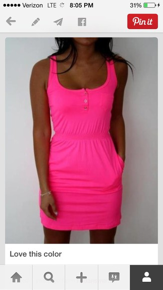 neon bright pink bright sleeveless casual