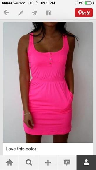 bright bright pink neon sleeveless casual