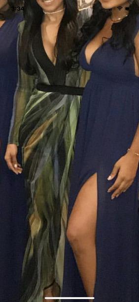 dress chiffon dress green multi colored