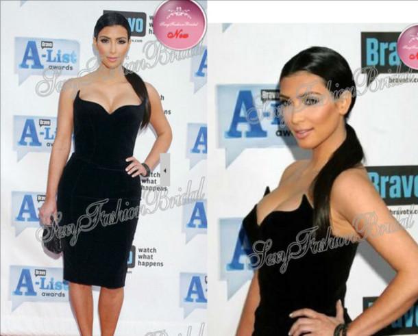 dress kim kardashian little black dress celebrity style velvet