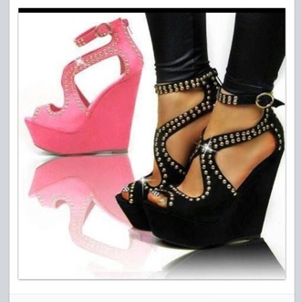 shoes black wedge studs