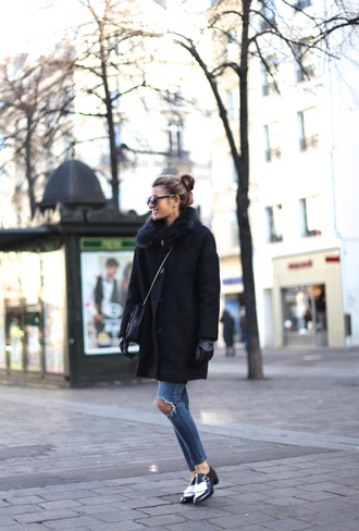 b a r t a b a c blogger shoes jeans bag sunglasses gloves sweater jewels winter coat loafers coat