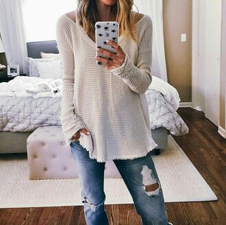 sweater on point clothing waffle knit cream v neck sweaters phone cover eyes iphone ripped jeans jeans boyfriend jeans cute girly vintage style fashion classy fall outfits