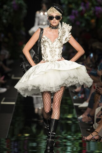 dress elsa hosk boots mini dress milan fashion week 2017 moschino sunglasses prom dress gown