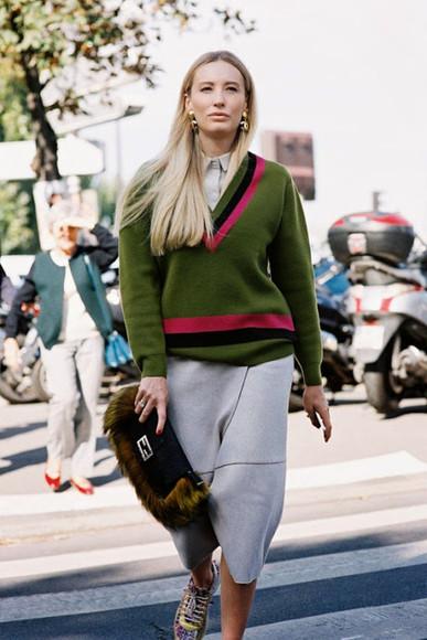 blogger sneakers vanessa jackman earrings pouch khaki jumper