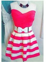 dress,pink,white,ribbon,stripes
