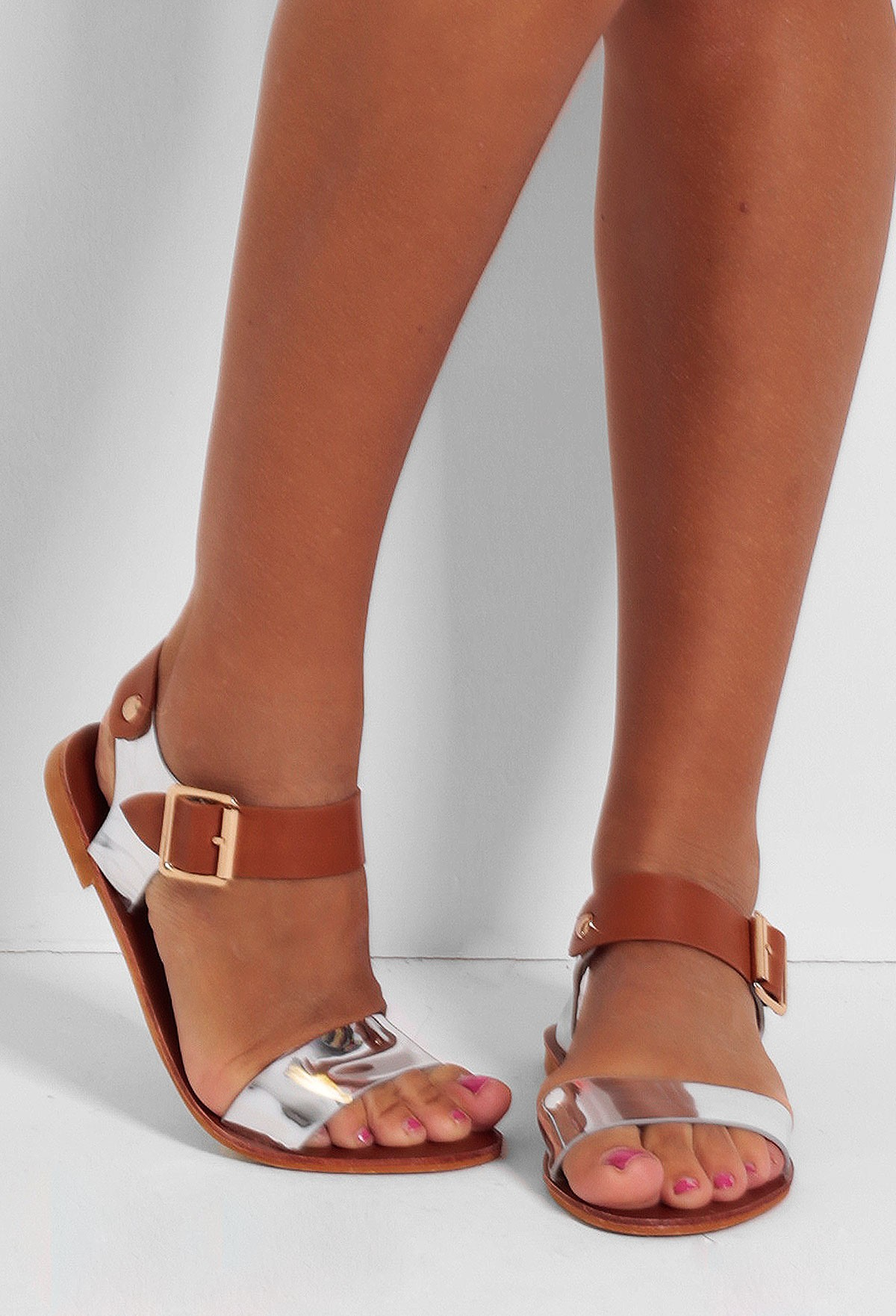 Accalia Silver & Tan Designer Inspired Sandals | Pink Boutique
