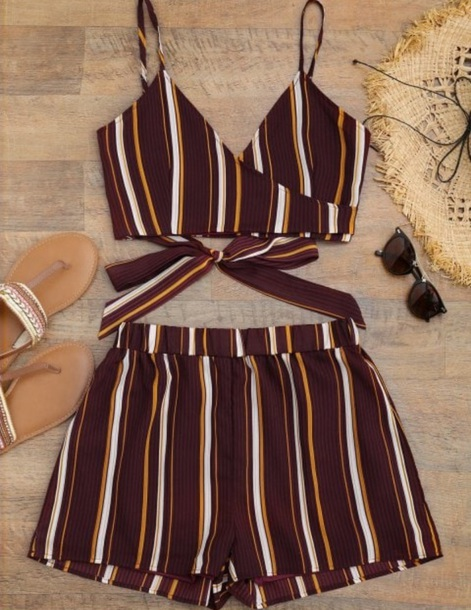 romper girly two-piece matching set crop tops crop cropped shorts