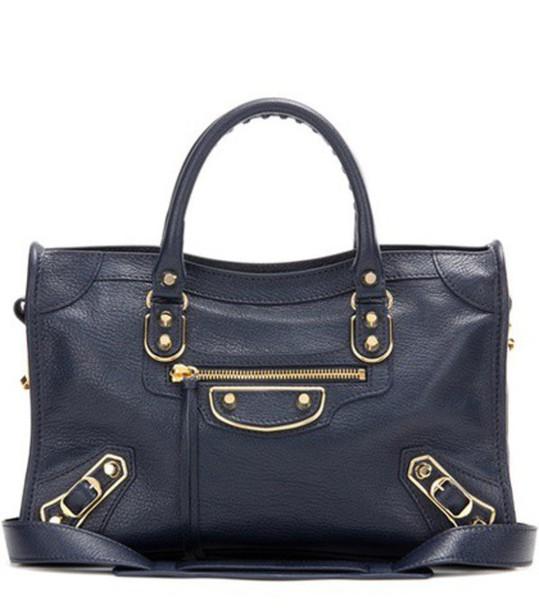 metallic classic bag shoulder bag leather blue