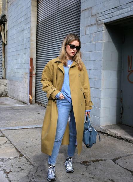 coat tumblr camel camel coat trench coat long coat camel long coat denim jeans blue jeans sweater knit knitwear knitted sweater blue sweater sunglasses