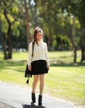 chloe ting,blogger,cable knit,fringed bag,black skirt,turtleneck,sweater,skirt,shoes,bag