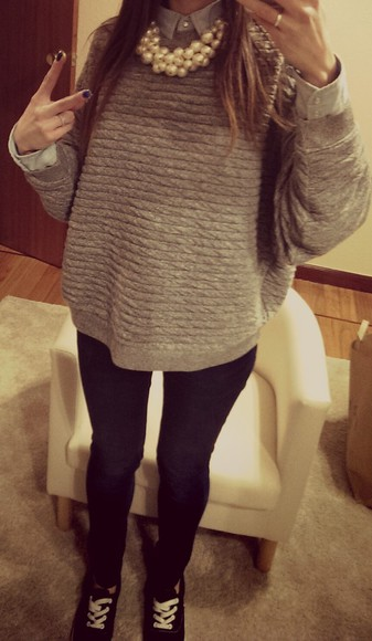 pearl necklace sweater grey hoodie zara outfits sweeter jeans