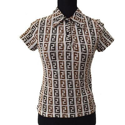 Authentic FENDI Vintage Logos Short Sleeve Tops Shirt Gray Brown Italy AK25508j