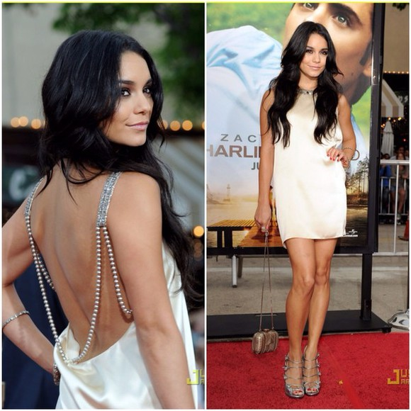 silk dress white cream vanessa hudgens vanessa hudgens clothes cream dress white dress pearls open back cute classy vanessa hudgens style tumblr weheartit diamonds