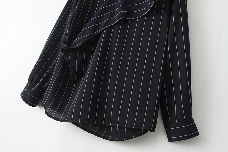 Blue V Neck Long Sleeve Vertical Stripe Blouse - Sheinside.com