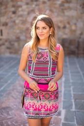 dress,pink,print,tribal pattern