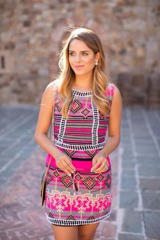 dress pink print tribal