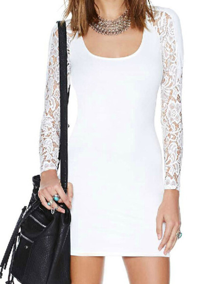 dress mini street lace bodycon long sleeves back tied white slim scoop neck cotton blends