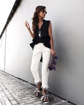 jeans,tumblr,ruffled top,white jeans,frayed jeans,frayed denim,shoes,slide shoes,top,black top,sleeveless,sleeveless top,ruffle,necklace,silver necklace,silver jewelry,jewels