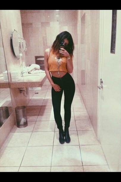 shirt kylie jenner pants jeans black pants leggings jeggings kardashians leggins black sexy legs style top orange crop tops black jeans