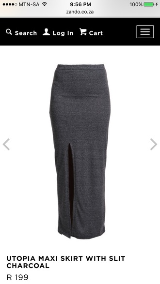 skirt grey charcoal grey skirt maxi skirt slit long skirt summer outfits casual funny easy to wear