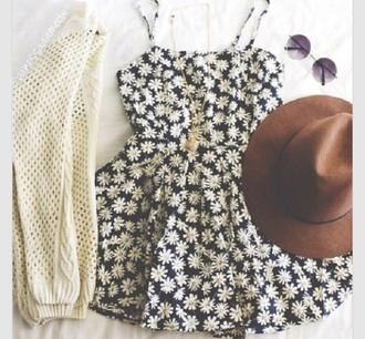 dress daisy dress daisy floral dress black dress trendy summer dress style hipster dress causal