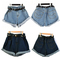 Cool women high waisted oversize crimping washed denim jeans shorts girl pants