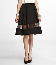 WAIST SHEER INSET PLEATED SKIRT | Express