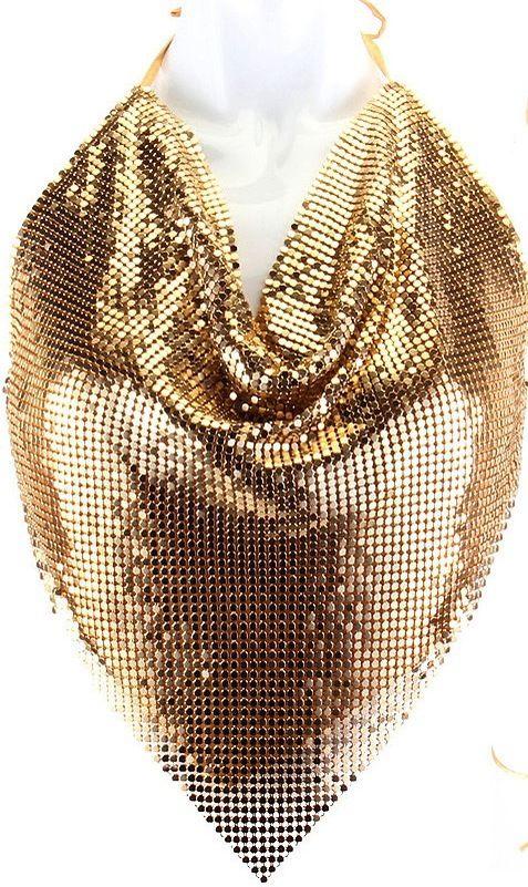 f2890edc554e5 Women s Backless Shirt top Halter Gold Metal Mesh Body Chain Bib